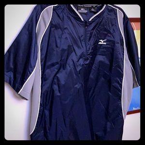 Mizuno baseball warmup short sleeve Sz S & L navy